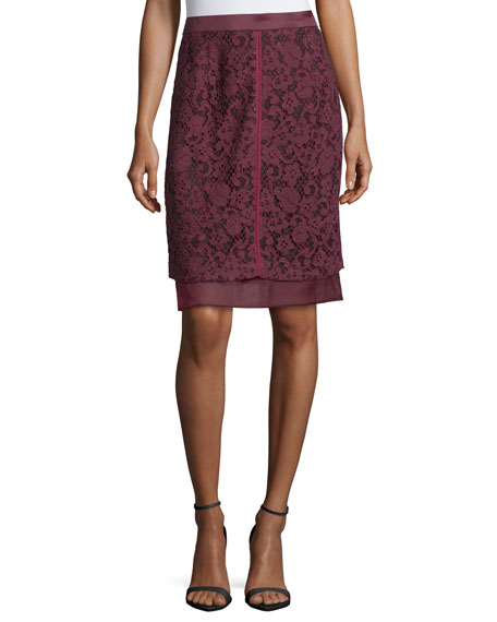 Lace-Overlay Pencil Skirt, Vin