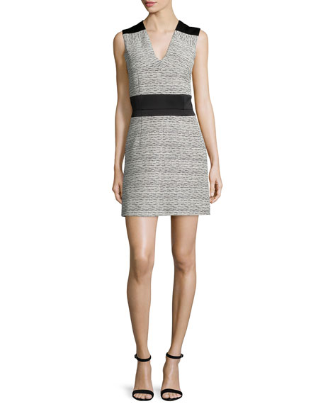 Carven Fantaisie Sleeveless A-Line Dress, Ecru