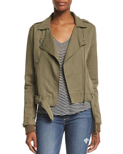 Marjorie Zip-Front Belted Jacket, Desert Olive Best Reviews
