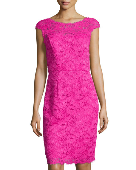 Shoshanna Cap-Sleeve Lace Sheath Dress, Deep Fuchsia