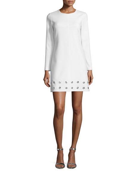 Shoshanna Long-Sleeve Grommet-Hem Dress, Snow