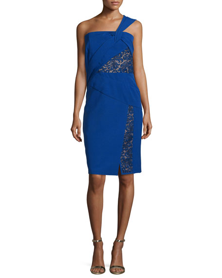 J. Mendel One-Shoulder Dress W/Lace Insets, Imperial Blue