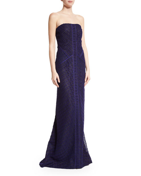 J. Mendel Strapless Lace Mermaid Gown, Imperial Blue