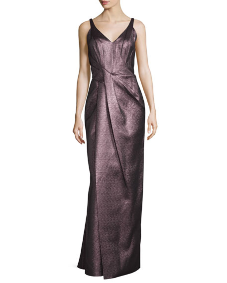 J. Mendel Sleeveless V-Neck Pleated Gown, Anemone
