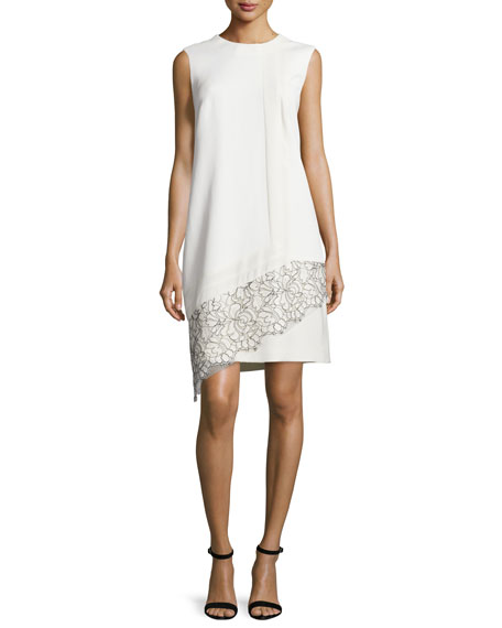 J. Mendel Sleeveless Lace-Inset Shift Dress, Ivoire