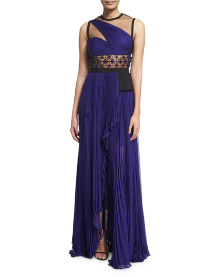 Sleeveless Illusion One-Shoulder Gown, Imperial Blue