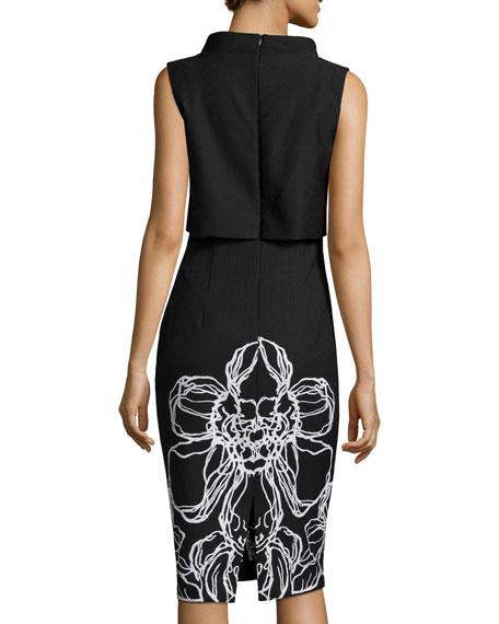 Sleeveless Popover Floral-Print Dress, Black