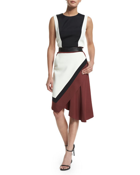 J. Mendel Sleeveless Colorblock Dress, Maroon/Multi