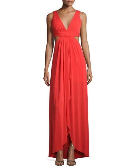BCBGMAXAZRIA Sleeveless V-Neck Gown W/Cutouts, Bright Red
