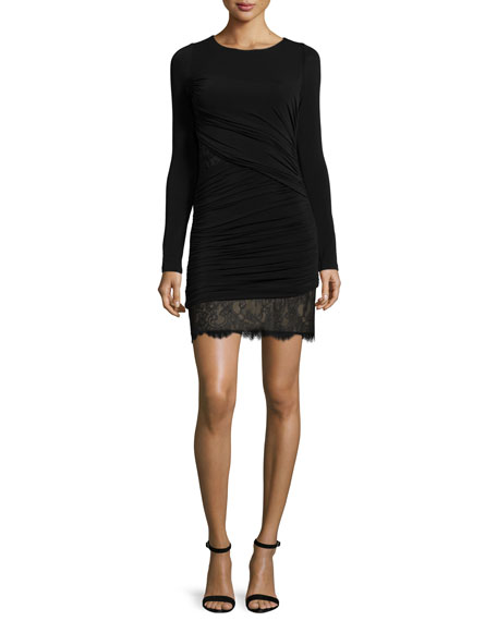 BCBGMAXAZRIA Long-Sleeve Ruched Cocktail Dress, Black