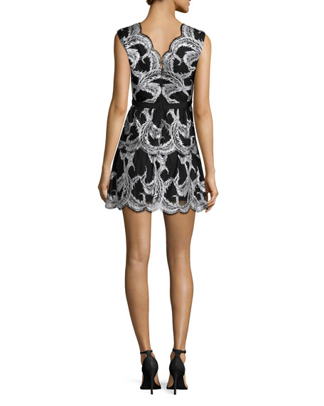 Sleeveless Scallop-Trim Cocktail Dress, Black/Ivory