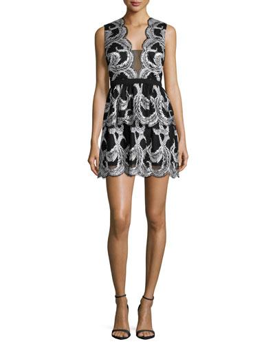 Sleeveless Scallop-Trim Cocktail Dress, Black/Ivory
