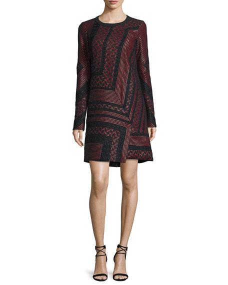 J. Mendel Long-Sleeve Lace-Inset Shift Dress, Ruby/Noir