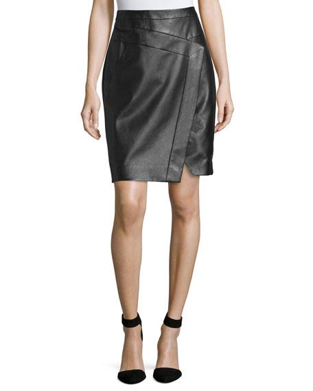 Faux-Wrap Leather Pencil Skirt, Noir