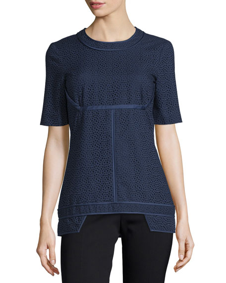 J. Mendel Short-Sleeve Eyelet Top, Marine