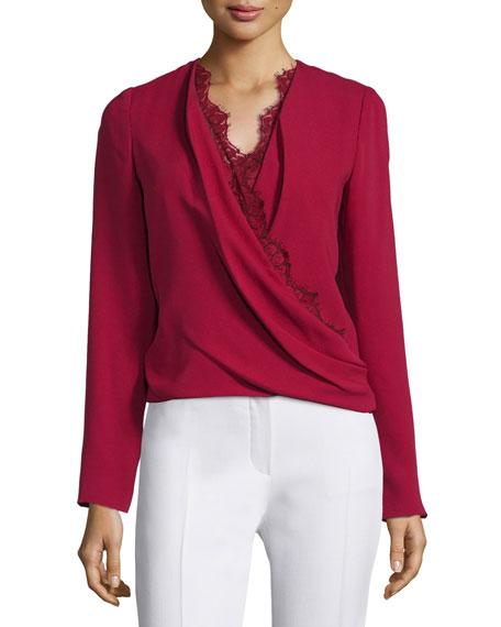 J. Mendel Long-Sleeve Lace-Trim Blouse, Ruby