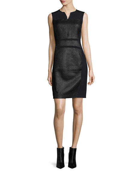 Elie Tahari Anya Sleeveless Coated Tweed Sheath Dress