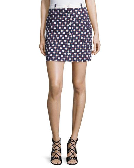 Carven Twill Clover Skirt, Multicolor