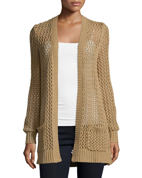 Michael Kors Collection Long-Sleeve Open-Front Cardigan, Fawn