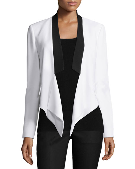 Michael Kors Collection Draped-Front Two-Tone Jacket, Optic White