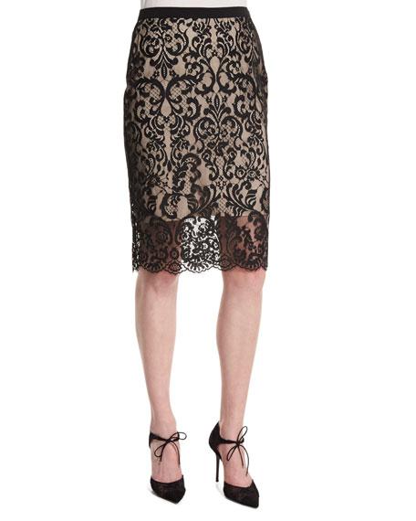 Elie Tahari Violet Lace Overlay Pencil Skirt