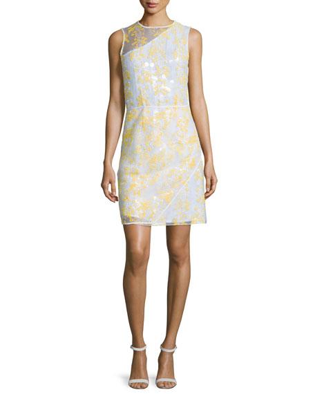 Carven Sleeveless Floral Organza Sheath Dress, White/Yellow
