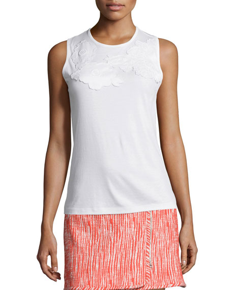 Carven Embroidered Racerback Tank, Optic White
