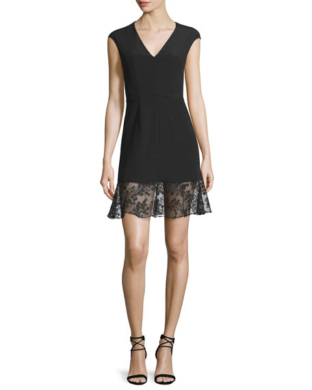 Carven Sleeveless Crepe Lace-Trim Mini Dress, Black