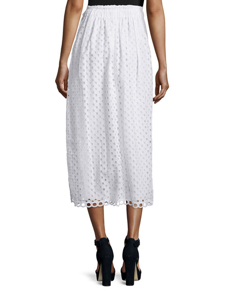 carven cotton eyelet midi skirt optic white