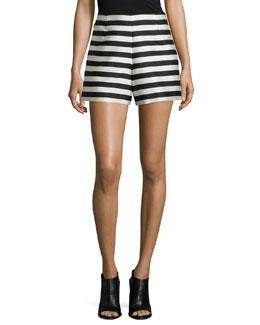 Stripe Silk-Blend Shorts, Navy