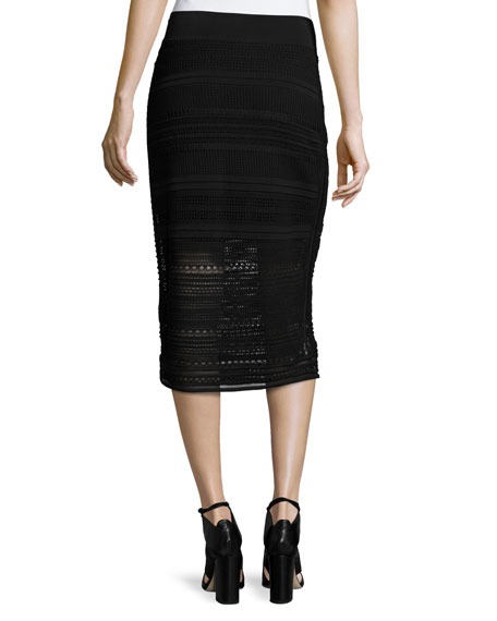 Crochet-Knit Midi Pencil Skirt, Black