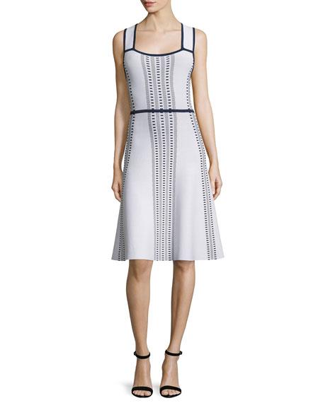 Ohne Titel Sleeveless Fit-and-Flare Dash Dress, White/Navy