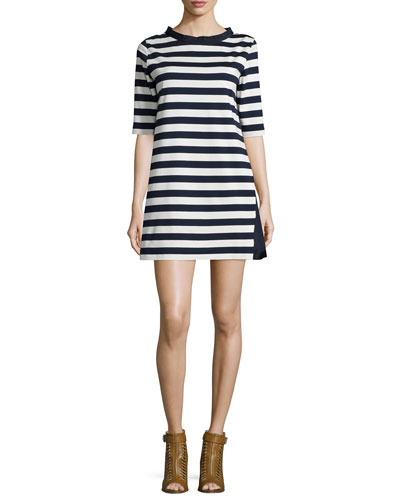 Half-Sleeve Striped A-line Dress