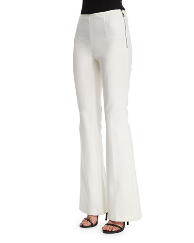 Side-Zip Flare-Leg Pants, White