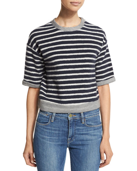 FRAME DENIM Le Cropped Slouchy Striped Tee, Navy/Off