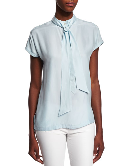 FRAME DENIM Short-Sleeve Tie-Neck Striped Top, Sky Blue