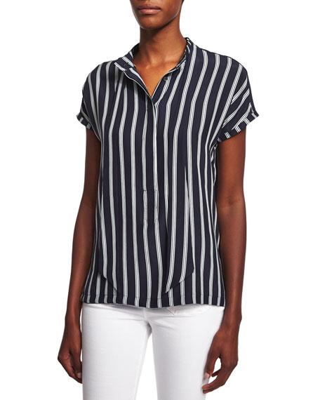 FRAME DENIM Short-Sleeve Tie-Neck Striped Top, Sky Blue/Multi