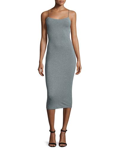 Strappy Stretch Midi Dress, Heather Gray