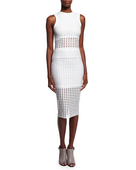 Eyelet Jacquard Pencil Skirt, White