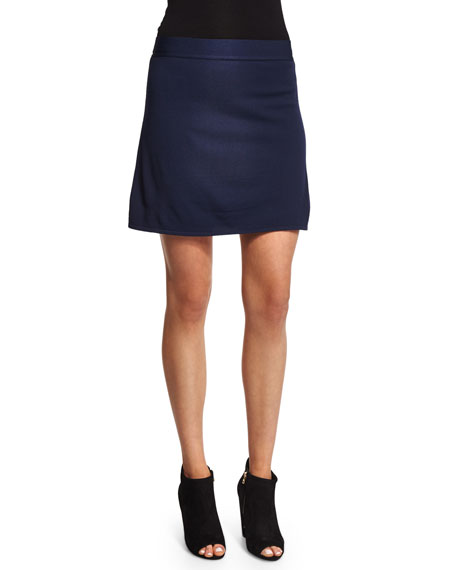 T by Alexander Wang Full-Needle Knit A-Line Skirt, Marine