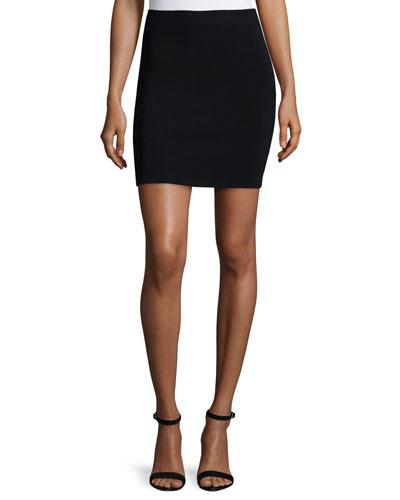 Knit A-Line Skirt, Black