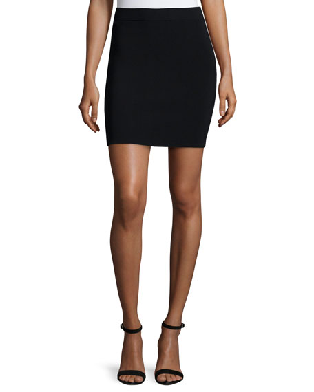 T by Alexander Wang Knit A-Line Skirt, Black