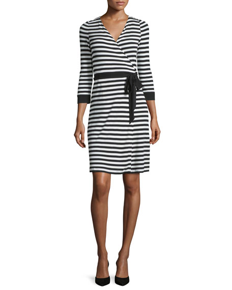 Diane von Furstenberg 3/4-Sleeve Striped Wrap Dress