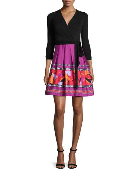 Diane von Furstenberg 3/4-Sleeve Combo Wrap Dress, Black