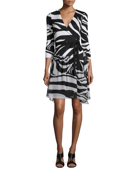 Diane von Furstenberg 3/4-Sleeve Zebra-Print Wrap Dress, Zebra