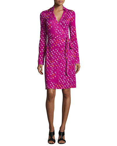 Diane von Furstenberg Long-Sleeve Polka-Dot Wrap Dress, Daisy