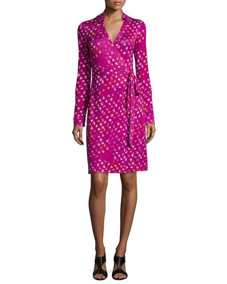 Diane von Furstenberg Long-Sleeve Polka-Dot Wrap Dress, Daisy Buds