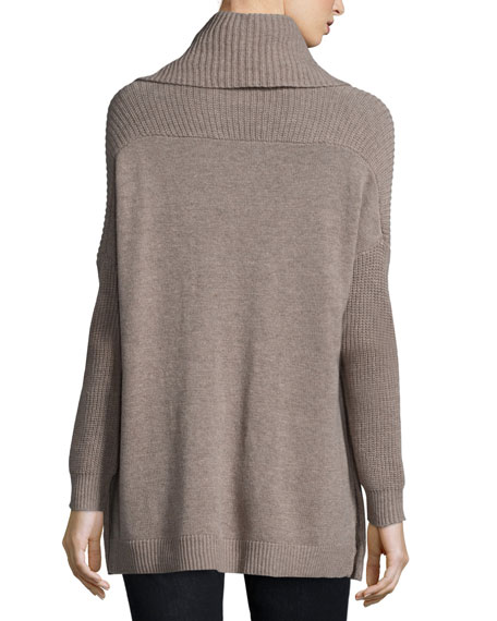 Long-Sleeve Cowl-Neck Chunky Pullover