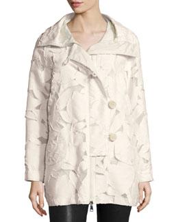 Pistache Floral Burnout Jacket, Cream