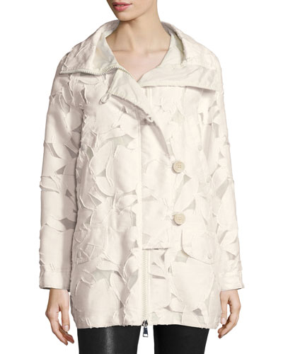 Pistache Floral Burnout Jacket, Cream